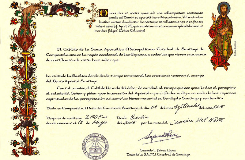 """""""Certificado de Distancia"""" :: Albergues del Camino de Santiago"""